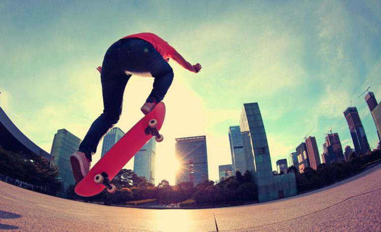 skateboarding at sunrise city